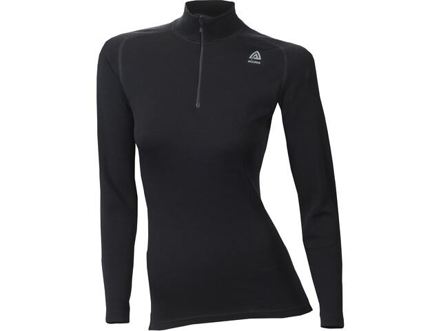 Aclima WarmWool Mock Neck Zip Shirt Damen jet black
